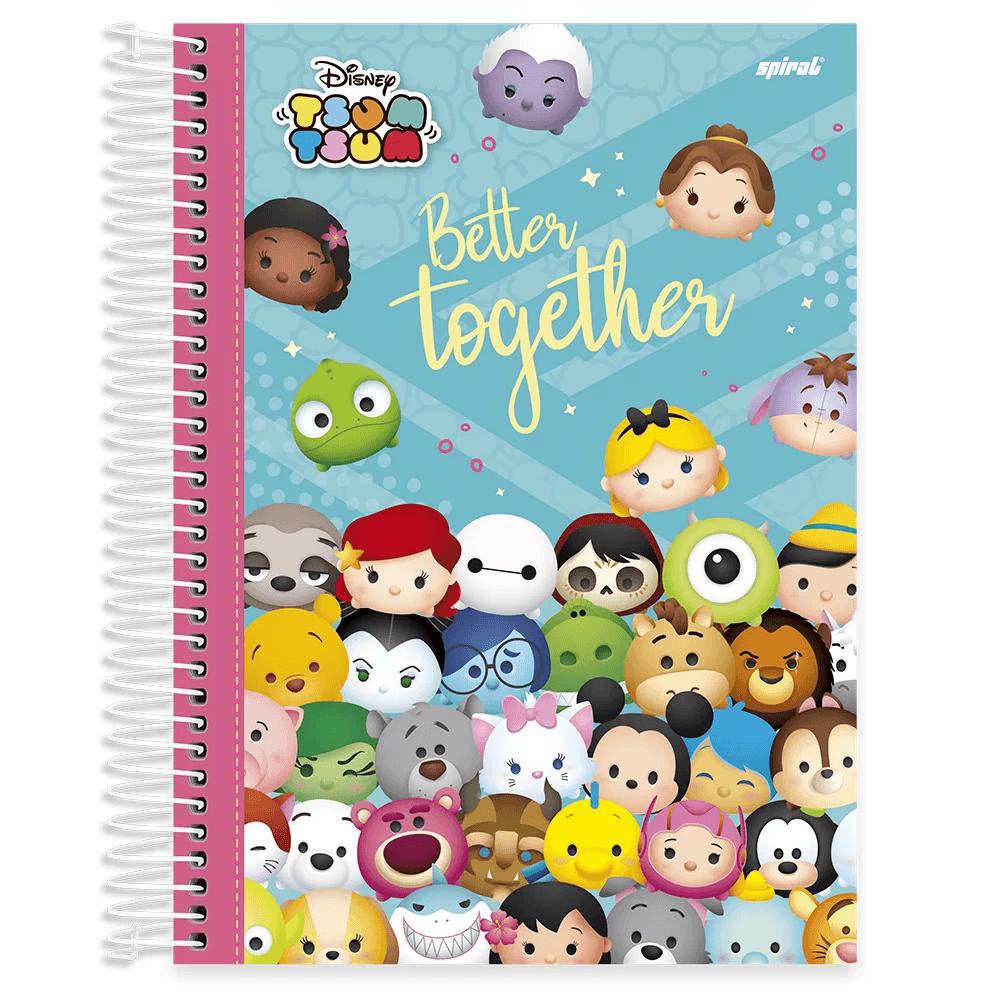 Caderno universitário capa dura 10x1 160 folhas Disney Tsum Tsum 211835 Spiral PT 1 UN