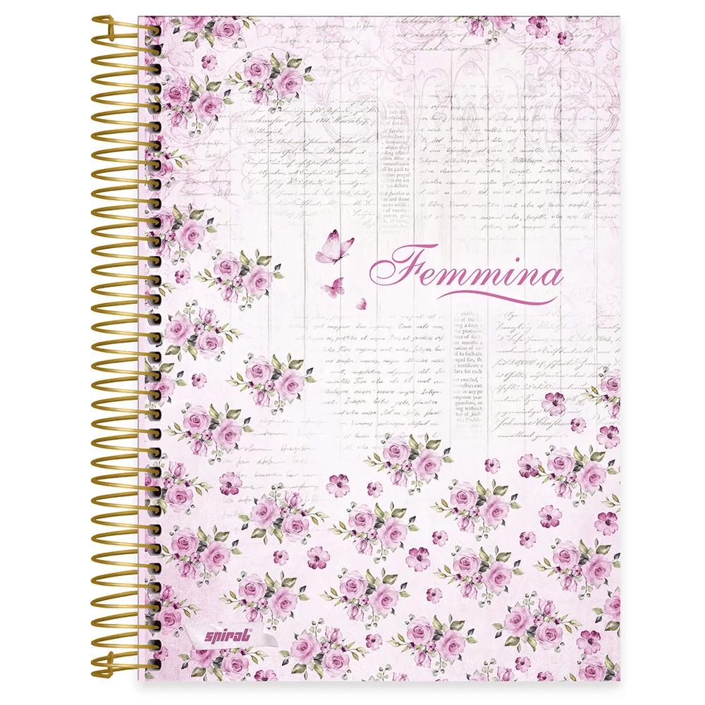 Caderno universitário capa dura 10x1 160 folhas Femmina Rosa 211841 Spiral PT 1 UN