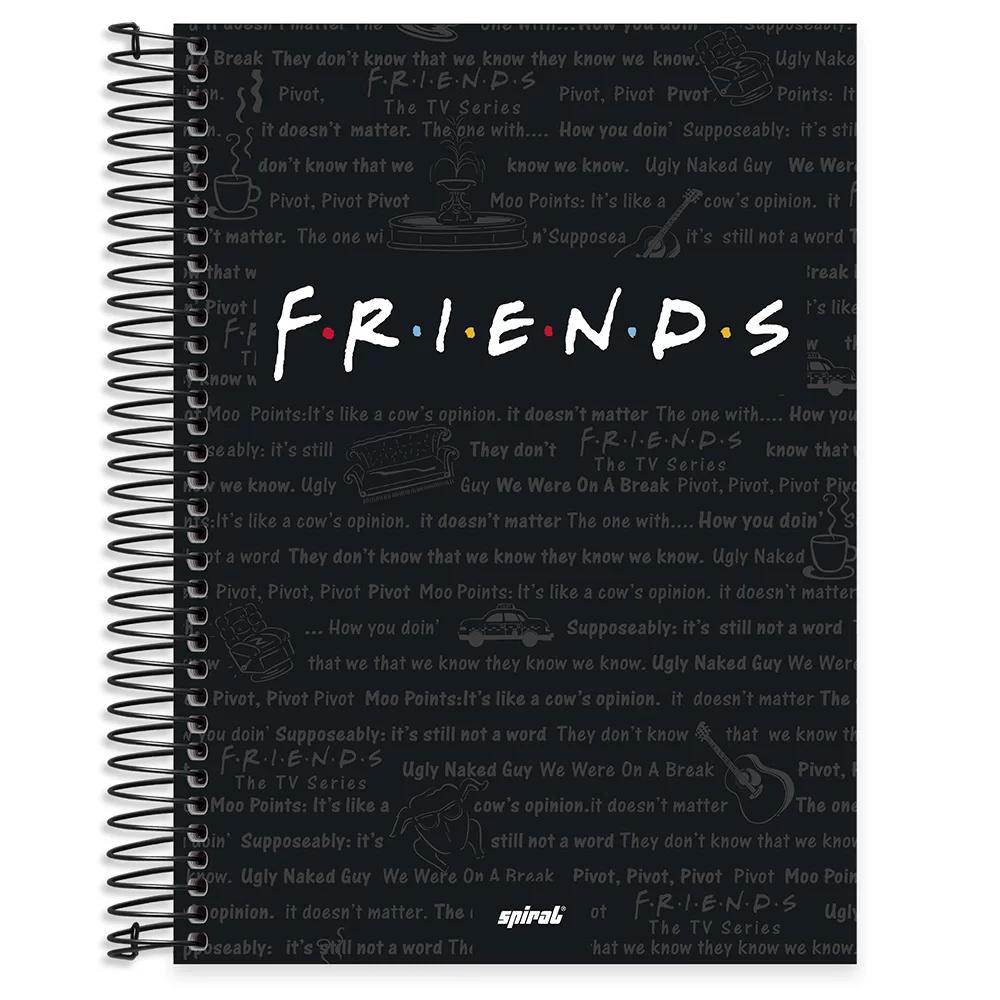 Caderno universitário capa dura 10x1 160 folhas Friends 211948 Spiral PT 1 UN