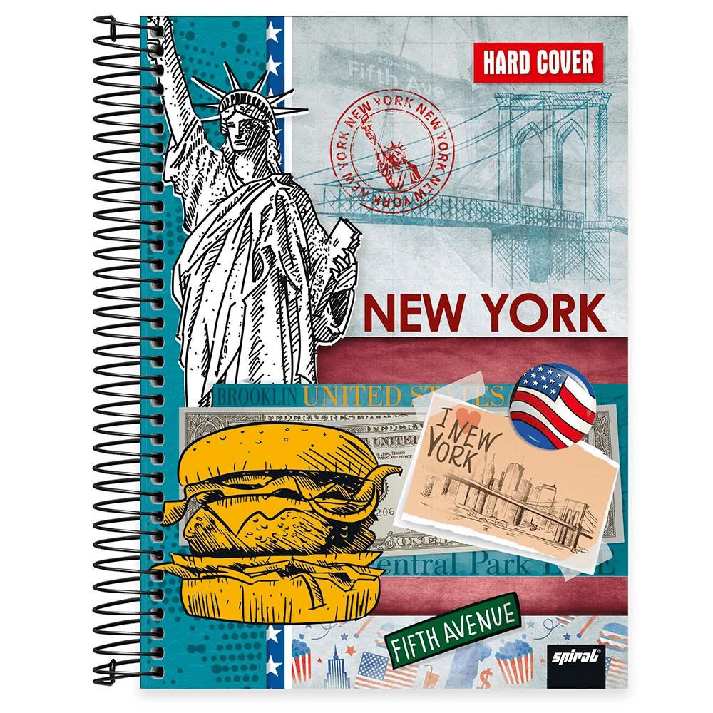 Caderno universitário capa dura 10x1 160 folhas Hard Cover New York 211853 Spiral PT 1 UN
