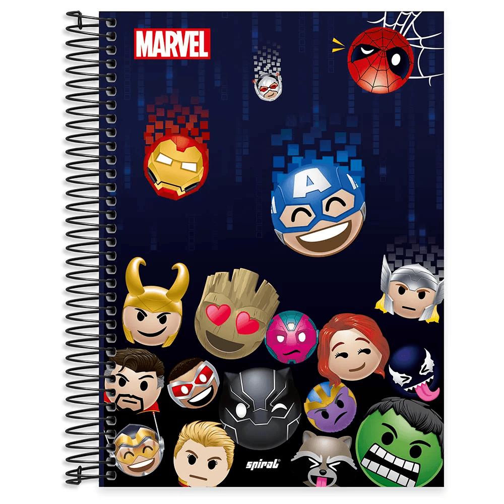 Caderno universitário capa dura 10x1 160 folhas Marvel Emoji 211878 Spiral PT 1 UN