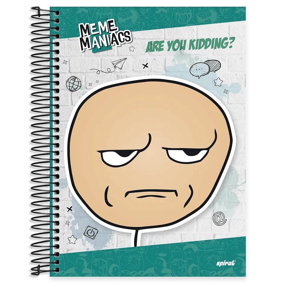 Caderno universitário capa dura 10x1 160 folhas Meme Maniacs 211882 Spiral PT 1 UN