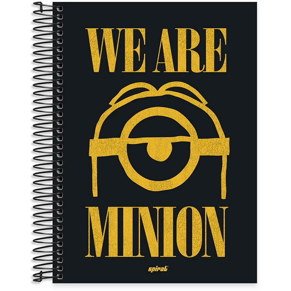 Caderno universitário capa dura 10x1 160 folhas Minions 211803 Spiral PT 1 UN
