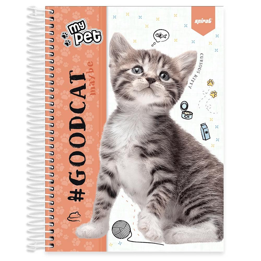 Caderno universitário capa dura 10x1 160 folhas My Pet Gato 211892 Spiral PT 1 UN