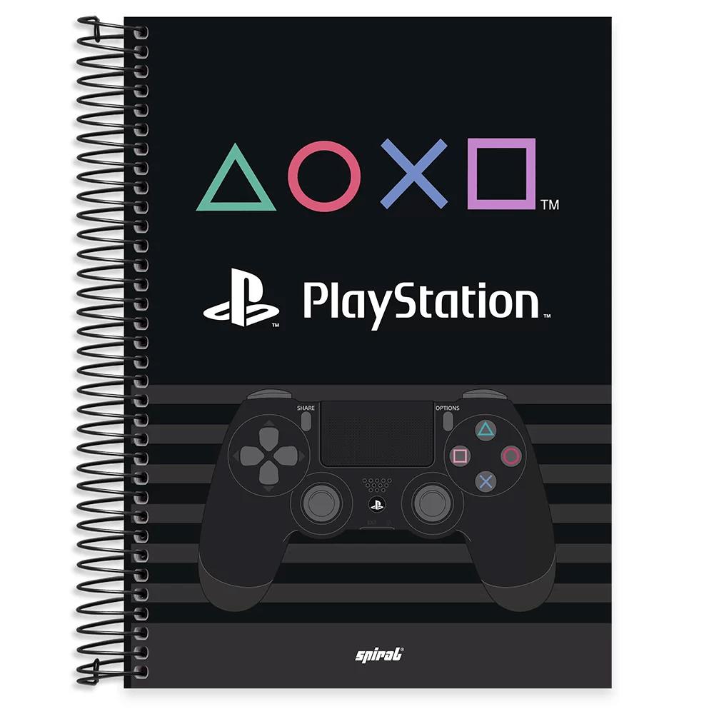 Caderno universitário capa dura 10x1 160 folhas Playstation 211899 Spiral PT 1 UN