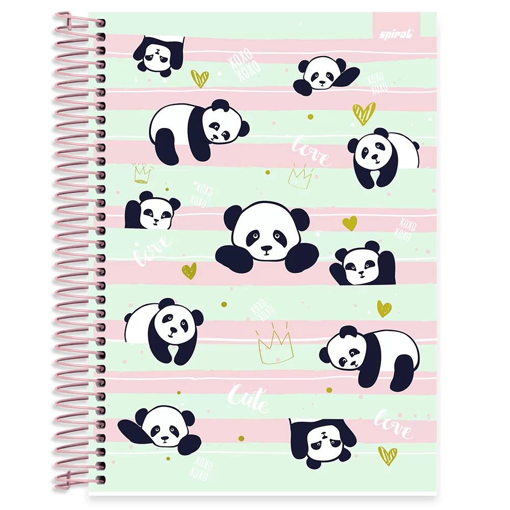 Caderno universitário capa dura 10x1 160 folhas Tendency Panda 211921 Spiral PT 1 UN