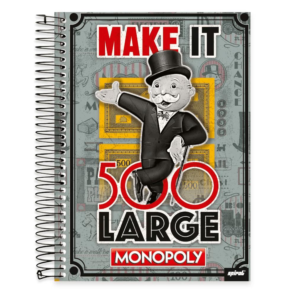 Caderno Universitário Capa Dura 10x1 200fl Monopoly 19477 Spiral Mnp PT 1 UN
