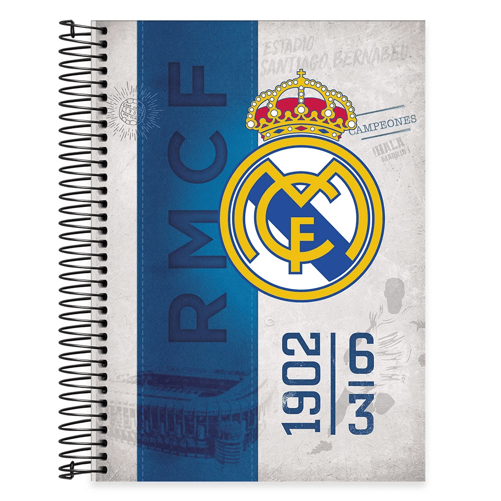 Caderno Universitário Capa Dura 10x1 200fl Real Madrid 20513 Spiral Rea PT 1 UN