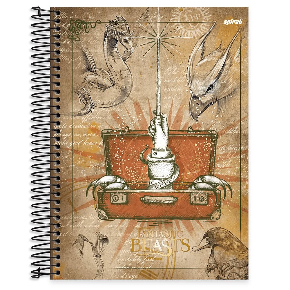 Caderno universitário capa dura 15x1 240 folhas Animais Fantásticos e Onde Habitam 211970 Spiral PT 1 UN