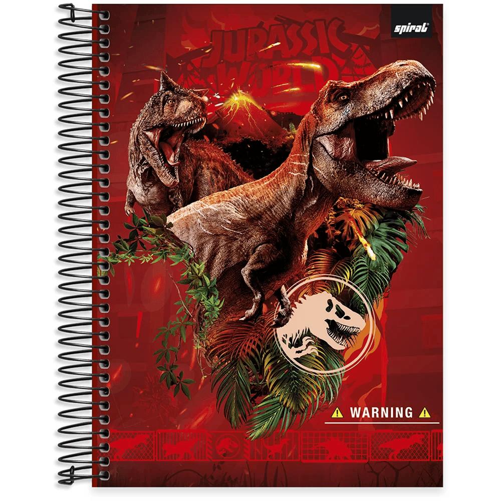 Caderno universitário capa dura 15x1 240 folhas Jurassic World 212078 Spiral PT 1 UN