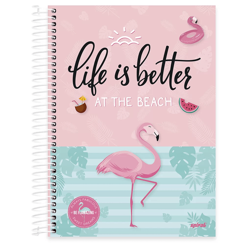 Caderno universitário capa dura 15x1 240 folhas Tendency Flamingo 212045 Spiral PT 1 UN
