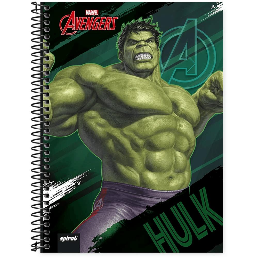 Caderno universitário capa dura 1x1 80 folhas Avengers 211531 Spiral PT 1 UN