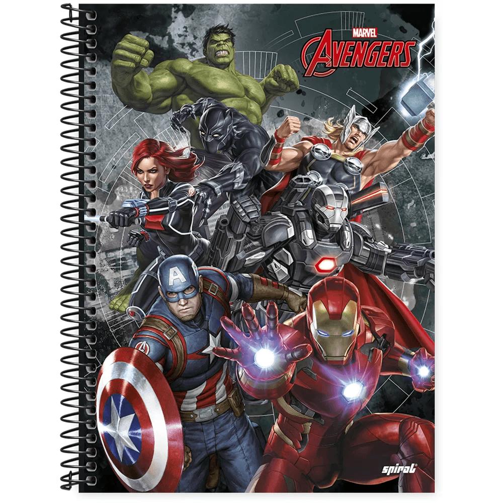 Caderno universitário capa dura 1x1 80 folhas Avengers 211532 Spiral PT 1 UN