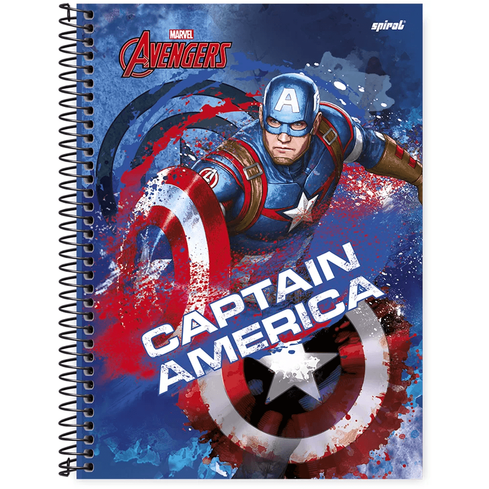 Caderno universitário capa dura 1x1 80 folhas Avengers Capitão América 211529 Spiral PT 1 UN