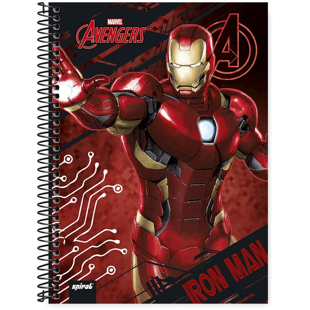 Caderno universitário capa dura 1x1 80 folhas Avengers Homem de Ferro 211530 Spiral PT 1 UN