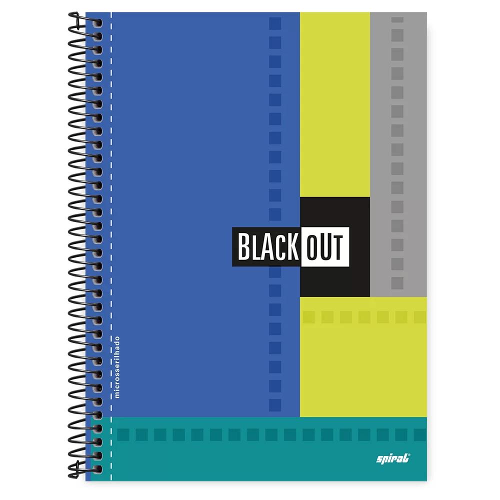 Caderno universitário capa dura 1x1 80 folhas Black Out Azul 211534 Spiral PT 1 UN