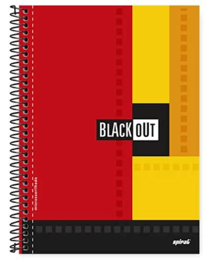 Caderno universitário capa dura 1x1 80 folhas Black Out Vermelho 211533 Spiral PT 1 UN