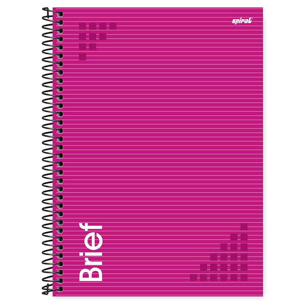 Caderno universitário capa dura 1x1 80 folhas Brief Case Rosa 211700 Spiral PT 1 UN
