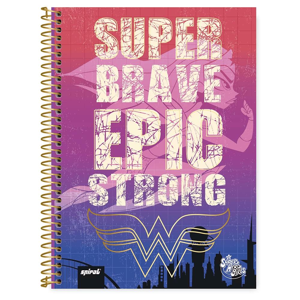 Caderno universitário capa dura 1x1 80 folhas DC Super Hero Girls 211545 Spiral PT 1 UN