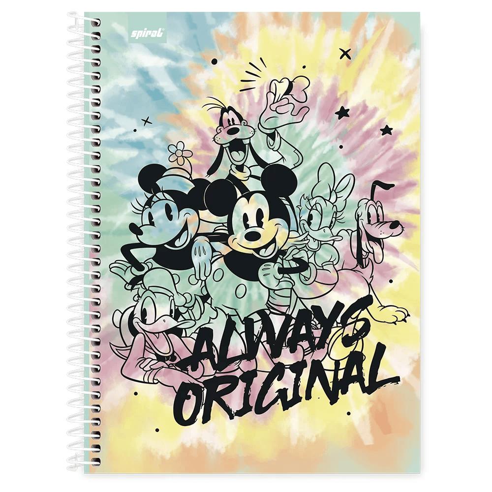 Caderno universitário capa dura 1x1 80 folhas Disney Mickey Friends Tie-Dye 211717 Spiral PT 1 UN