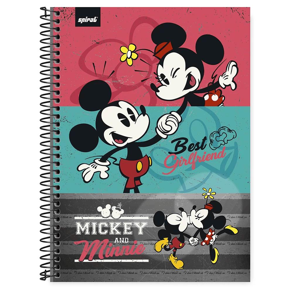 Caderno universitário capa dura 1x1 80 folhas Disney Mickey & Minnie 211549 Spiral PT 1 UN