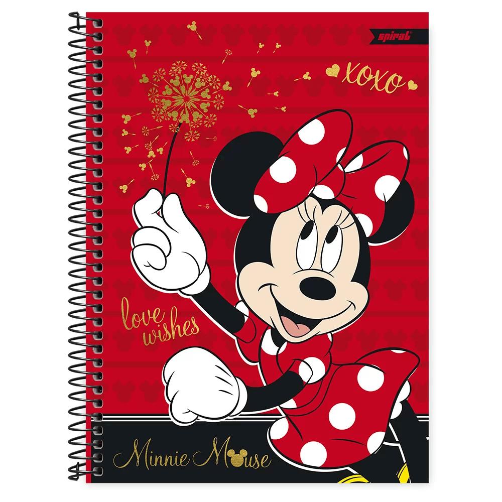 Caderno universitário capa dura 1x1 80 folhas Disney Minnie Clássico 211707 Spiral PT 1 UN
