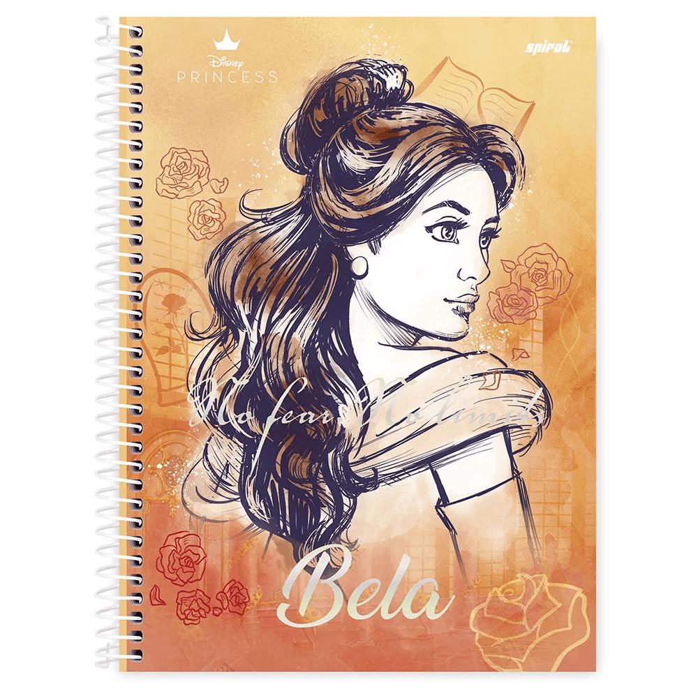 Caderno universitário capa dura 1x1 80 folhas Disney Princesas Bela 211559 Spiral PT 1 UN