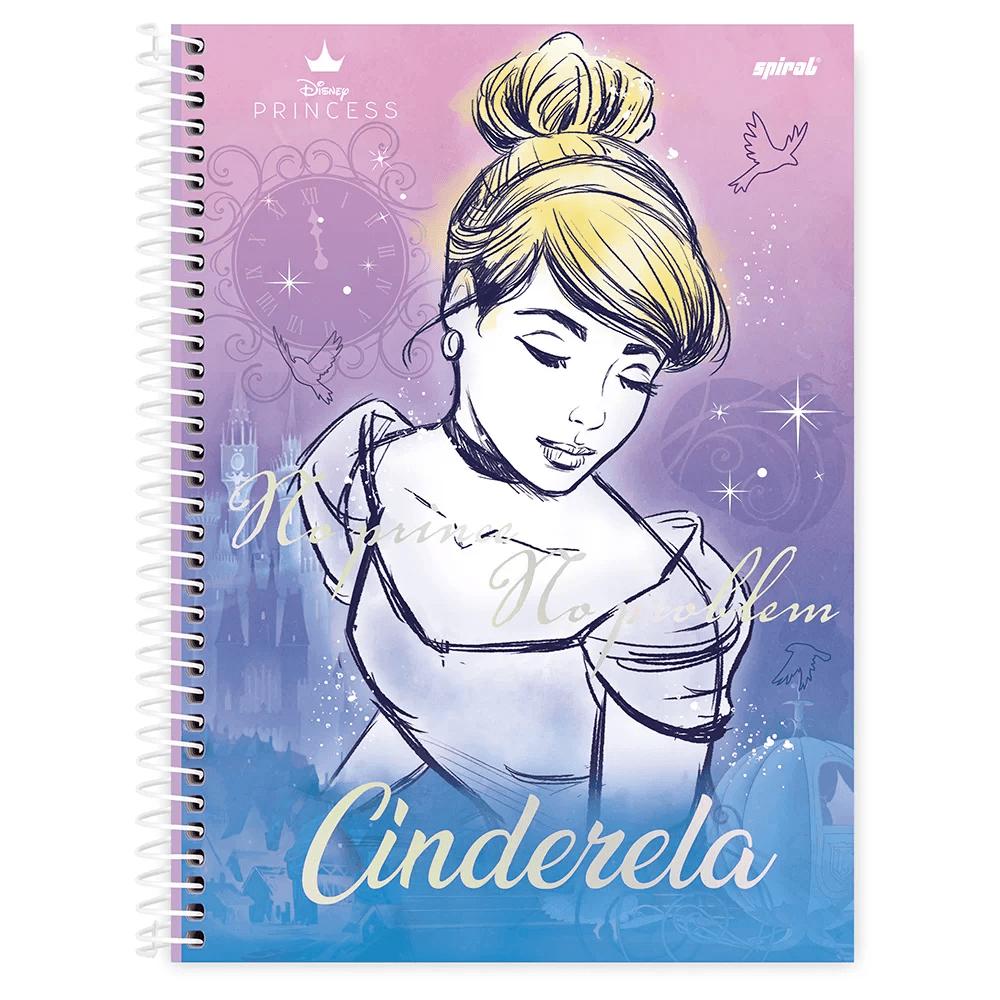 Caderno universitário capa dura 1x1 80 folhas Disney Princesas Cinderela 211560 Spiral PT 1 UN