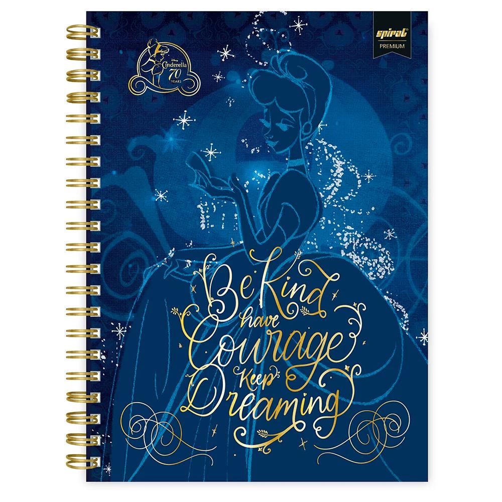 Caderno universitário capa dura 1x1 80 folhas Disney Princesas Premium Cinderela 211687 Spiral PT 1 UN