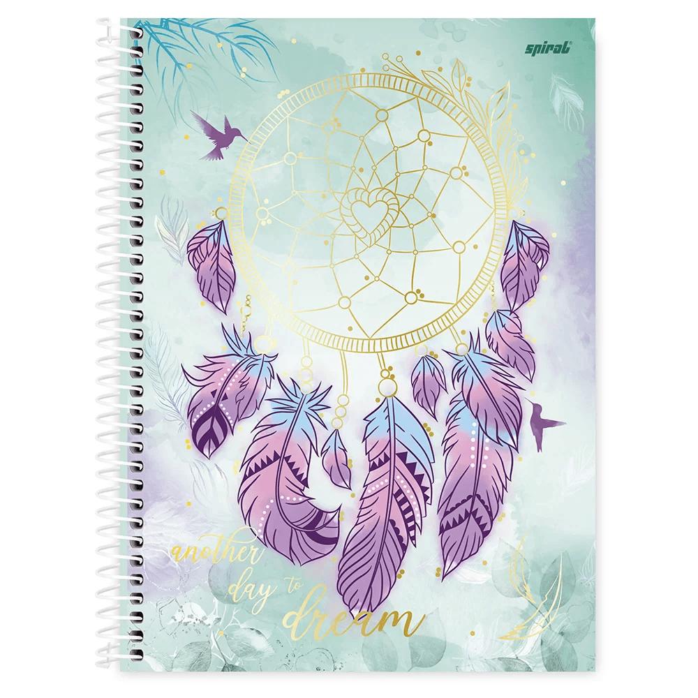 Caderno universitário capa dura 1x1 80 folhas Dreams 211566 Spiral PT 1 UN