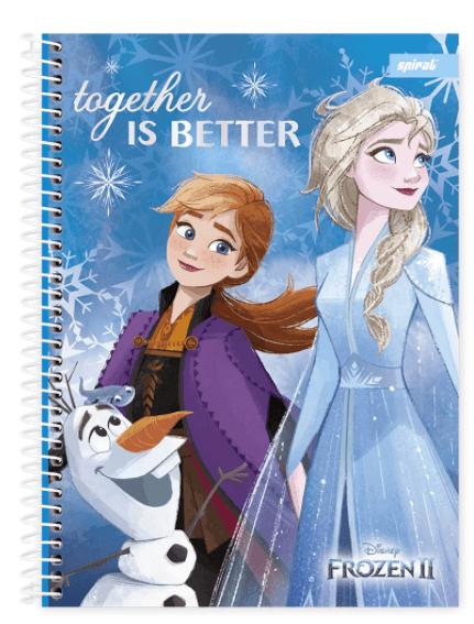 Caderno universitário capa dura 1x1 80 folhas Frozen 211708 Spiral PT 1 UN