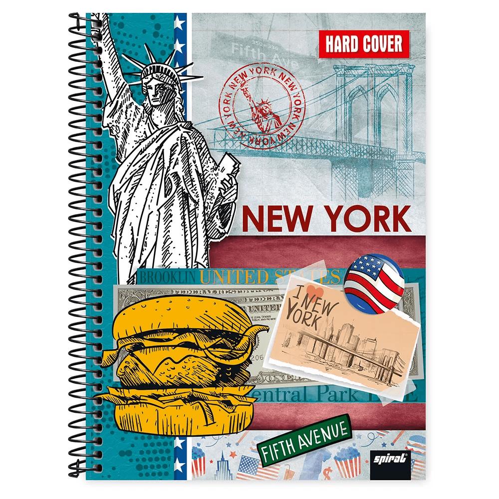 Caderno universitário capa dura 1x1 80 folhas Hard Cover New York 211585 Spiral PT 1 UN
