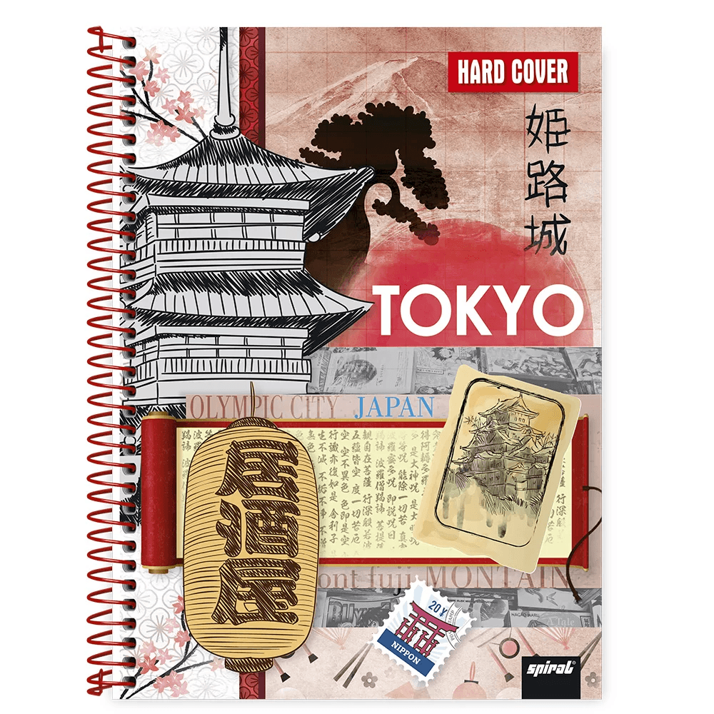 Caderno universitário capa dura 1x1 80 folhas Hard Cover Tokyo 211587 Spiral PT 1 UN