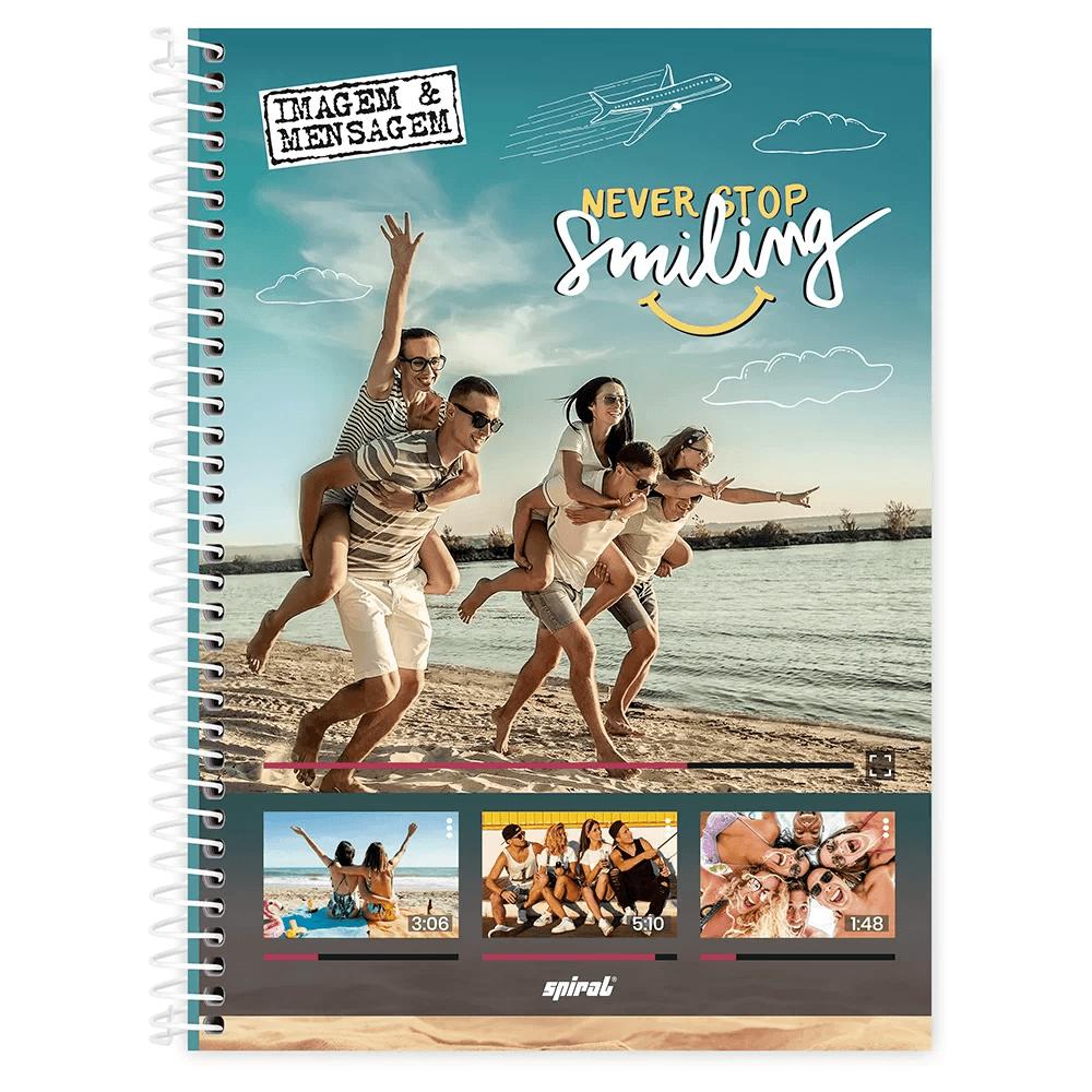 Caderno universitário capa dura 1x1 80 folhas Imagem e Mensagem 211595 Spiral PT 1 UN