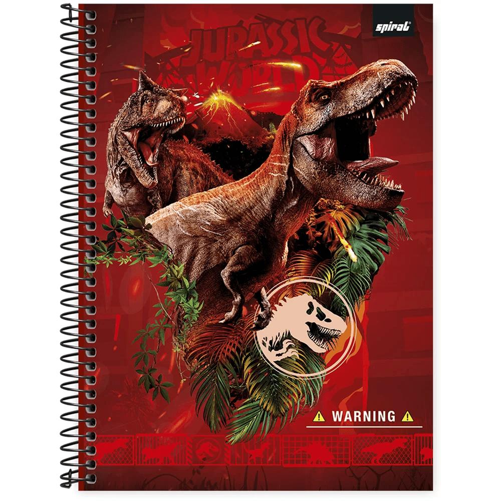 Caderno universitário capa dura 1x1 80 folhas Jurassic World 211710 Spiral PT 1 UN