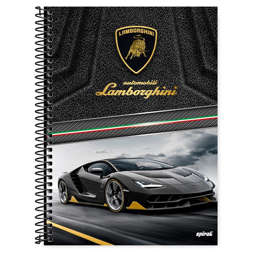 Caderno universitário capa dura 1x1 80 folhas Lamborghini 211599 Spiral PT 1 UN