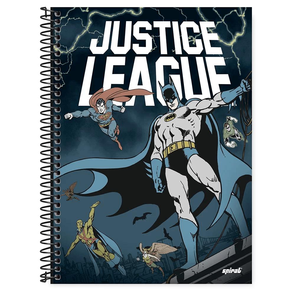 Caderno universitário capa dura 1x1 80 folhas Liga da Justiça Batman 211602 Spiral PT 1 UN
