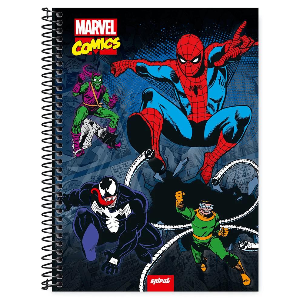 Caderno universitário capa dura 1x1 80 folhas Marvel Comics Homem Aranha 211612 Spiral PT 1 UN