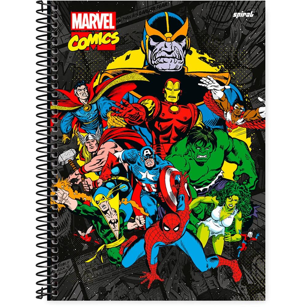 Caderno universitário capa dura 1x1 80 folhas Marvel Comics Thanos 211611 Spiral PT 1 UN