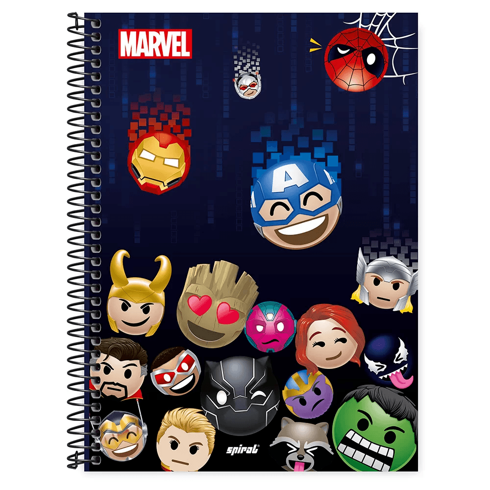 Caderno universitário capa dura 1x1 80 folhas Marvel Emoji 211614 Spiral PT 1 UN