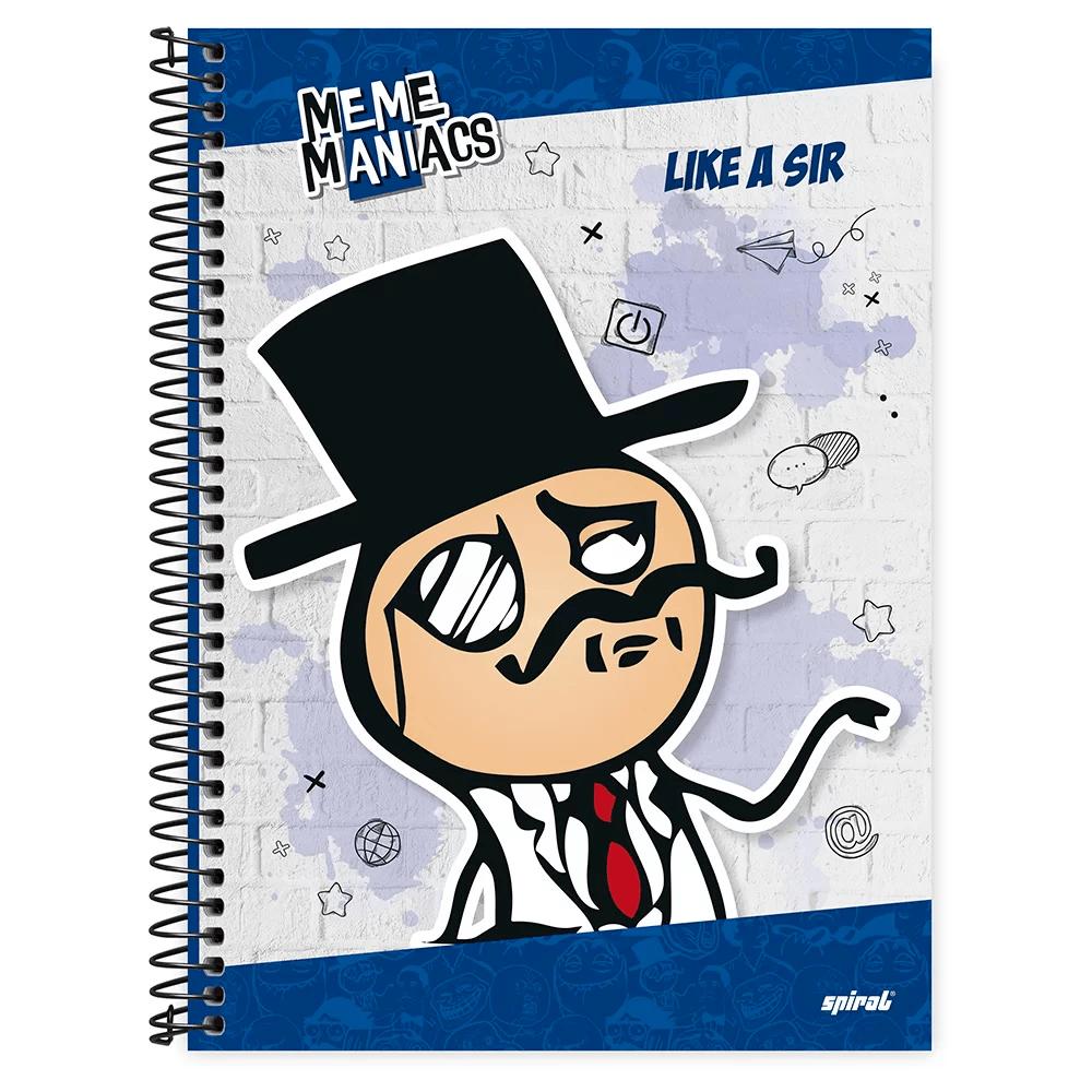 Caderno universitário capa dura 1x1 80 folhas Meme Maniacs 211617 Spiral PT 1 UN