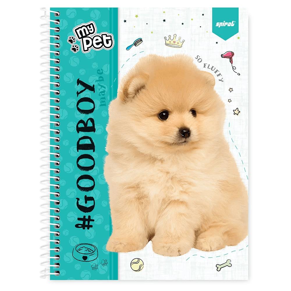 Caderno universitário capa dura 1x1 80 folhas My Pet Lulu 211633 Spiral PT 1 UN