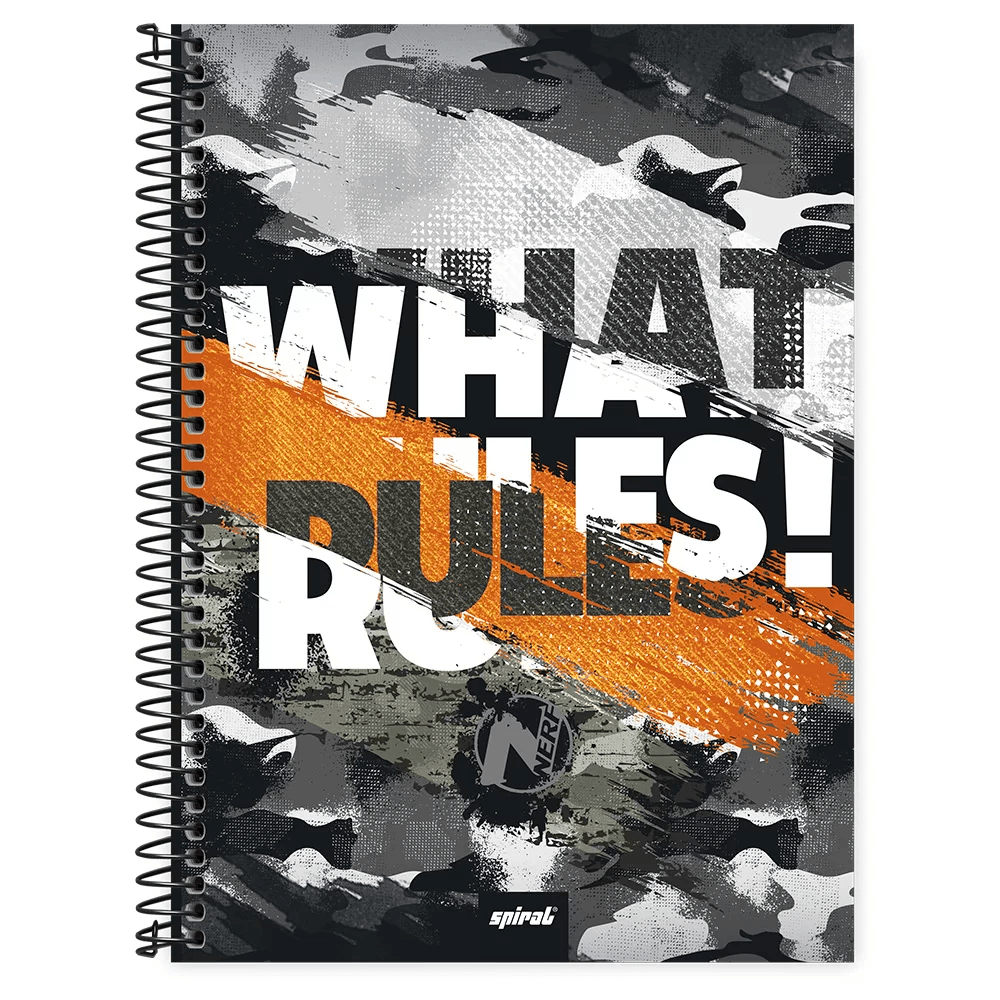 Caderno universitário capa dura 1x1 80 folhas Nerf 211634 Spiral PT 1 UN