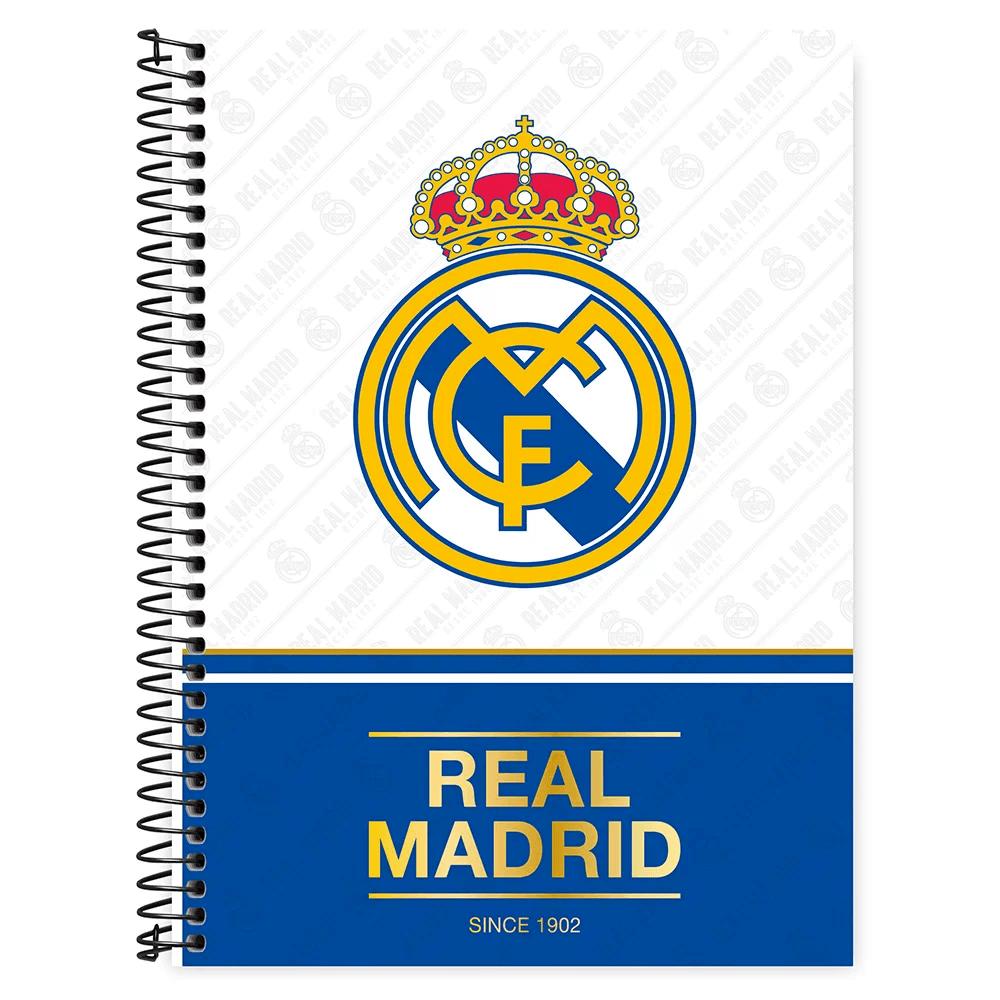 Caderno universitário capa dura 1x1 80 folhas Real Madrid 211644 Spiral PT 1 UN