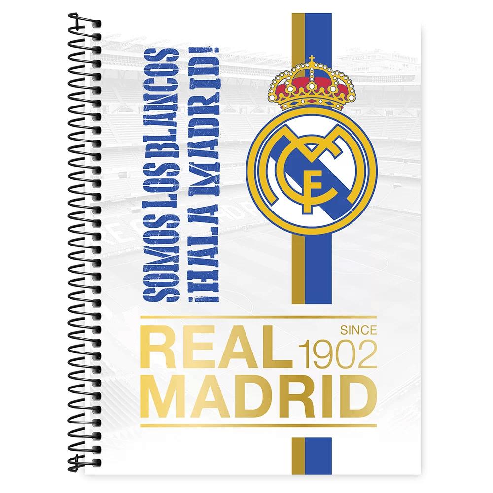 Caderno universitário capa dura 1x1 80 folhas Real Madrid 211645 Spiral PT 1 UN