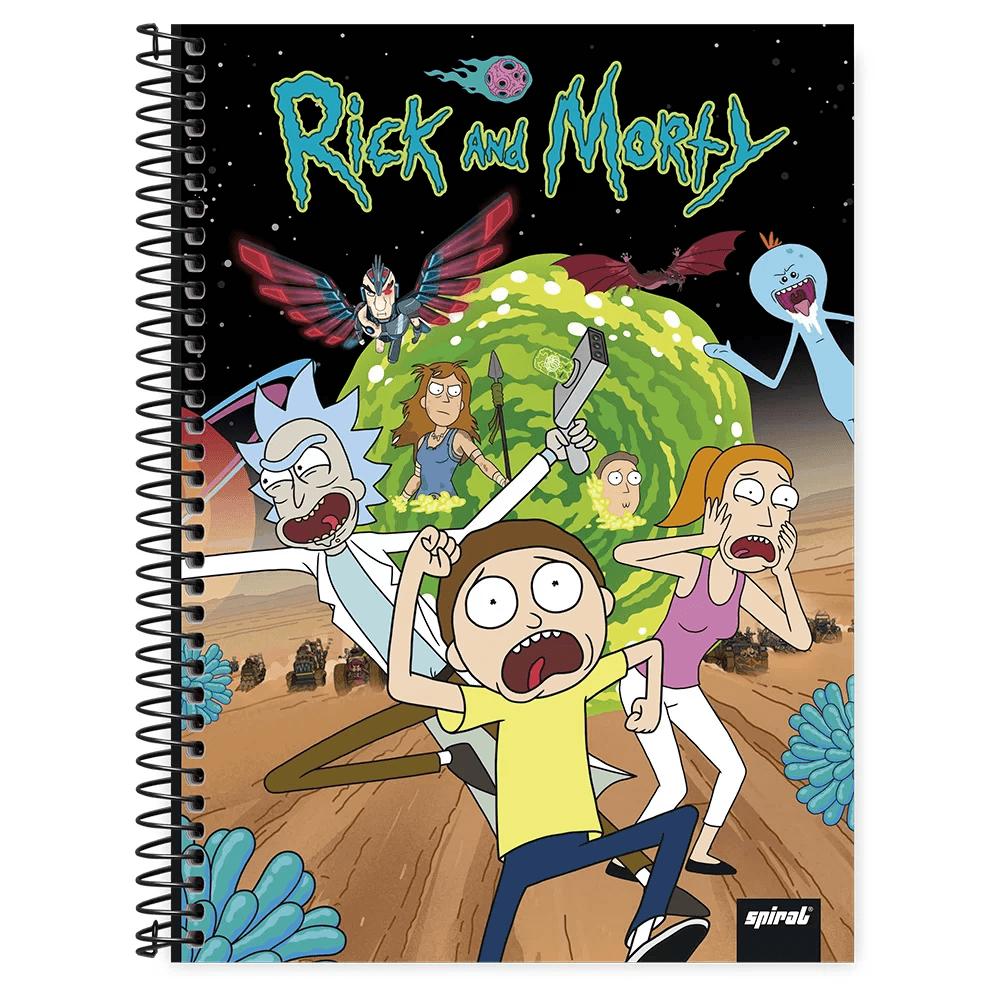 Caderno universitário capa dura 1x1 80 folhas Rick & Morty Portal 211693 Spiral PT 1 UN