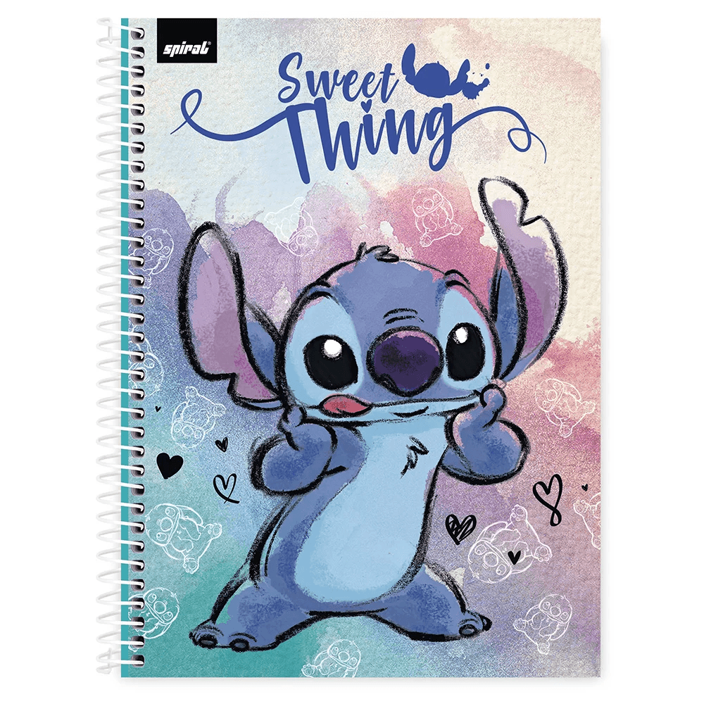Caderno universitário capa dura 1x1 80 folhas Stitch 211650 Spiral PT 1 UN