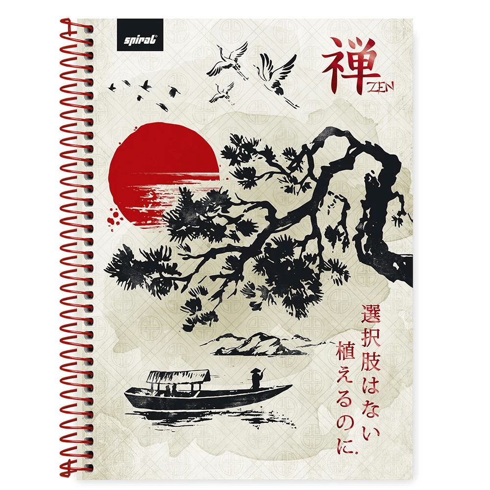 Caderno universitário capa dura 1x1 80 folhas Zen 211680 Spiral PT 1 UN