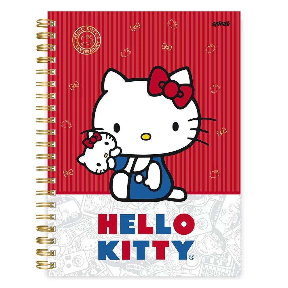 Caderno universitário capa dura 1x1 96 fls Hello Kitty Kitty 45 20377 Spiral Hki PT 1 UN