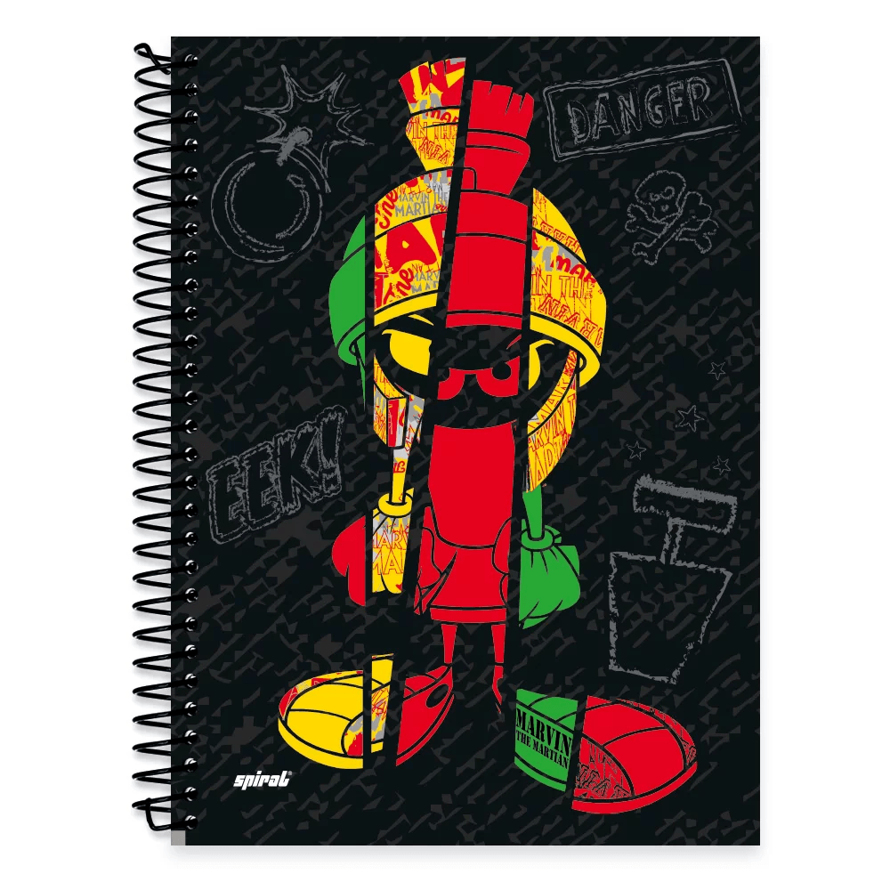 Caderno Universitário Capa Dura 1x1 96 fls Looney Tunes 20302 Spiral Lt PT 1 UN